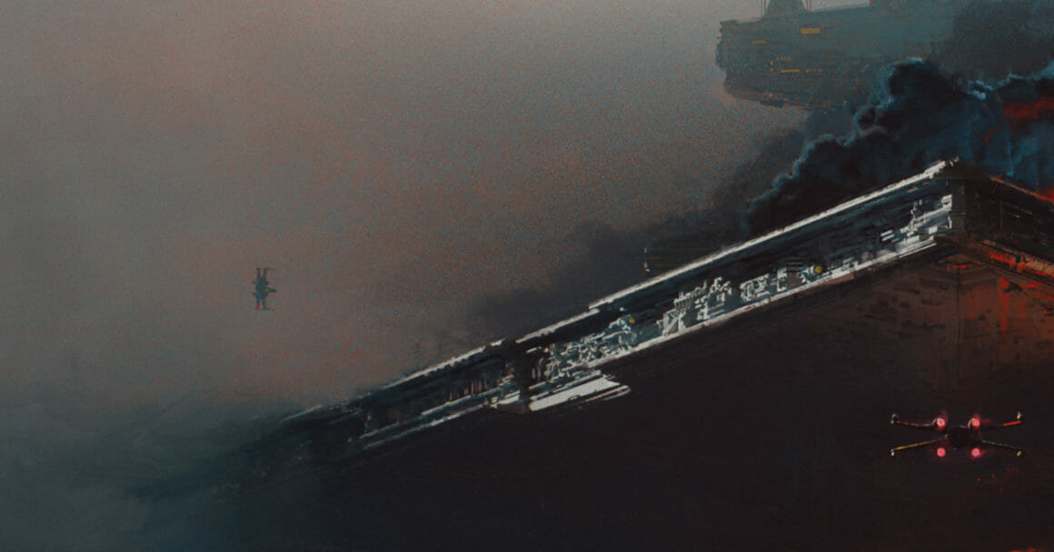 win-x vole au dessus vaisseau amiral star wars illustration