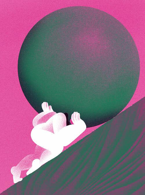 couverture magazine Sad monte boule géante mythe Sisyphe rose vert