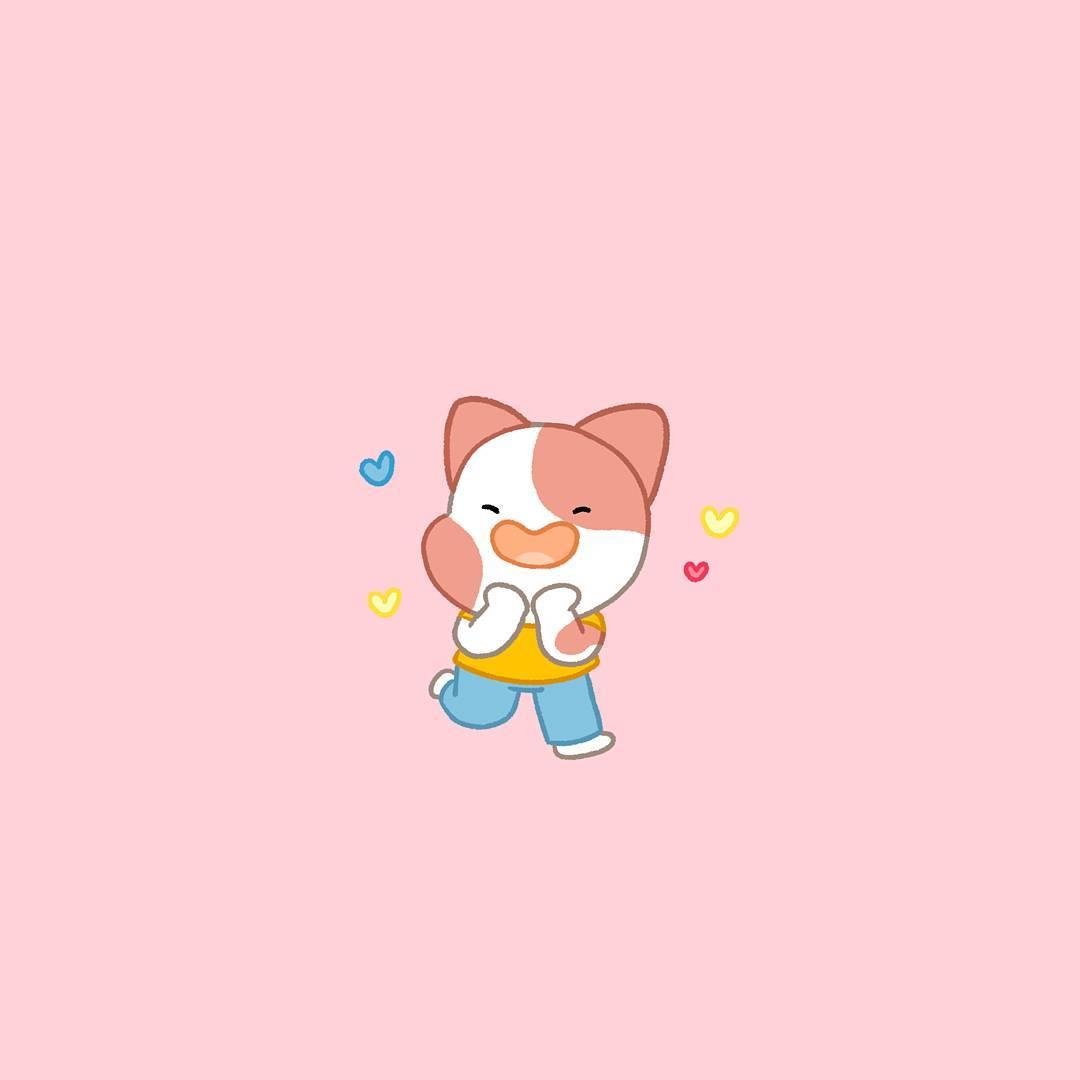 illustration animation peluche animale chat coeurs rouge bleu jaune