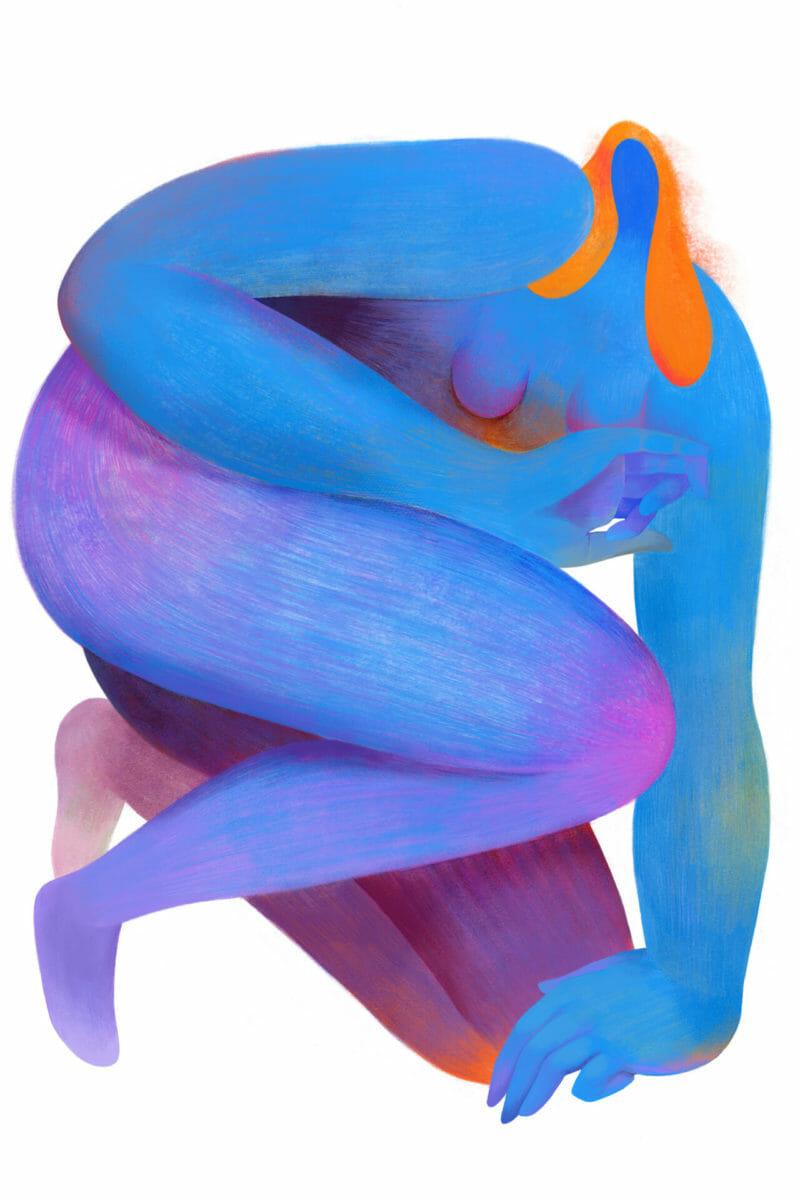 femme accroupie genou au sol cheveux roux seins couleurs bleu dégradé rose Hanna Lee Joshi illustration