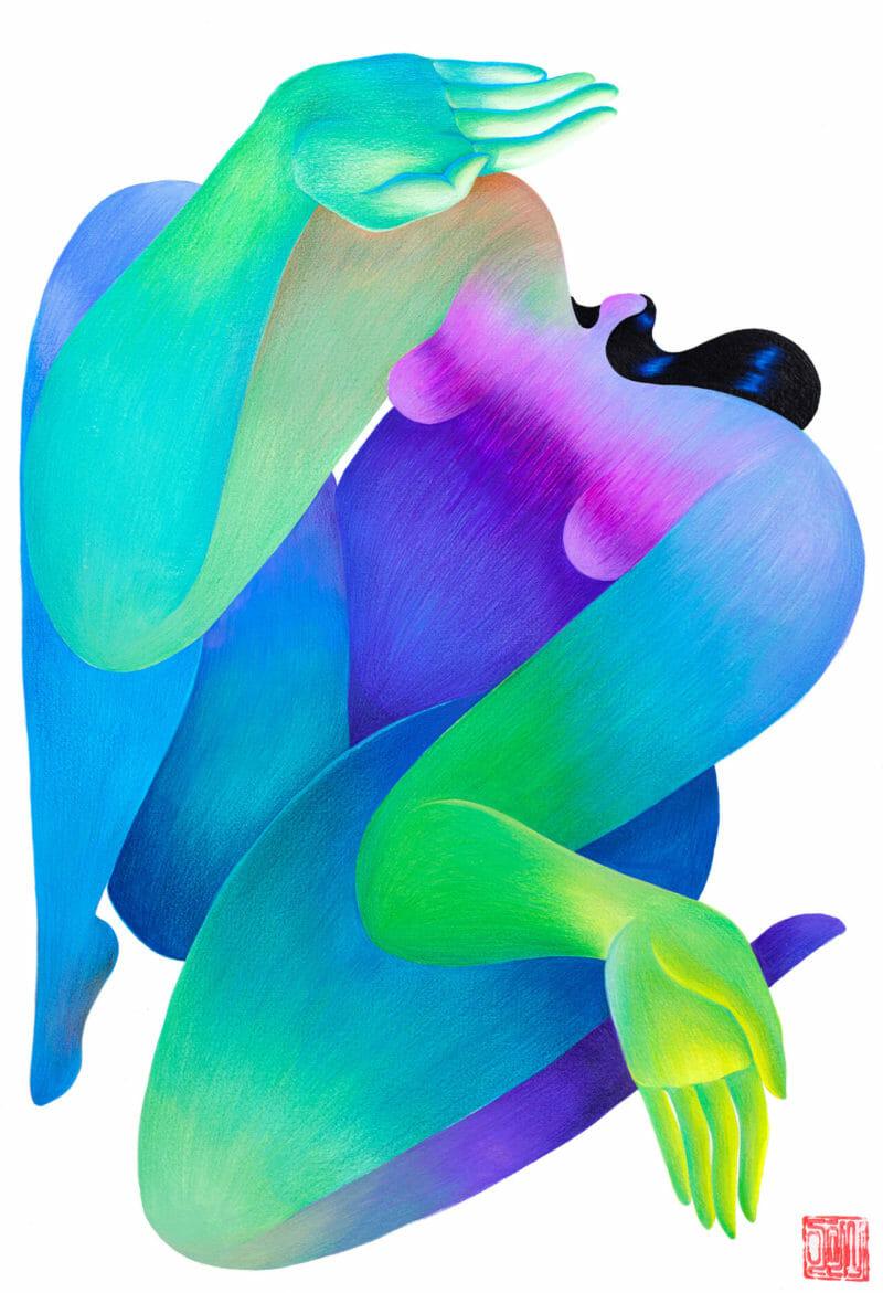 femme cheveux luisant illustration Hanna Lee Joshi reflet luisant signe stop main