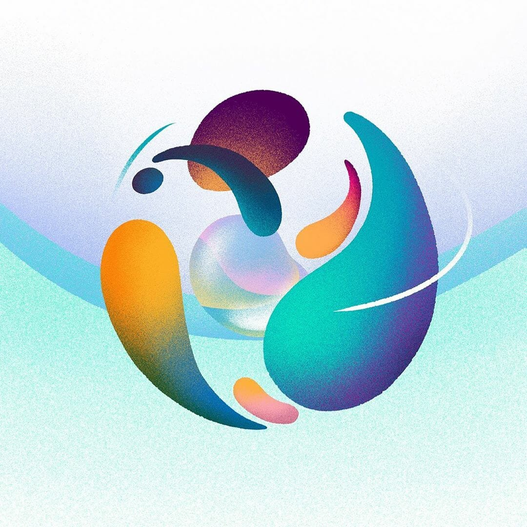 forme bulle rond eau nature abstrait illustration dessin peinture Hanna Lee Joshi nuances bleu