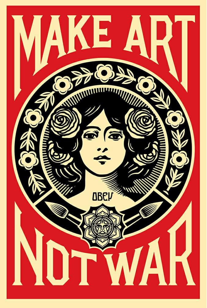femme pacifiste rose fleurs obey rouge noir symétrie jaune