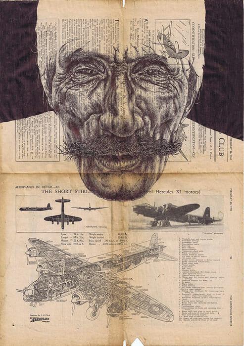 avion journal homme combattant moustache poilu
