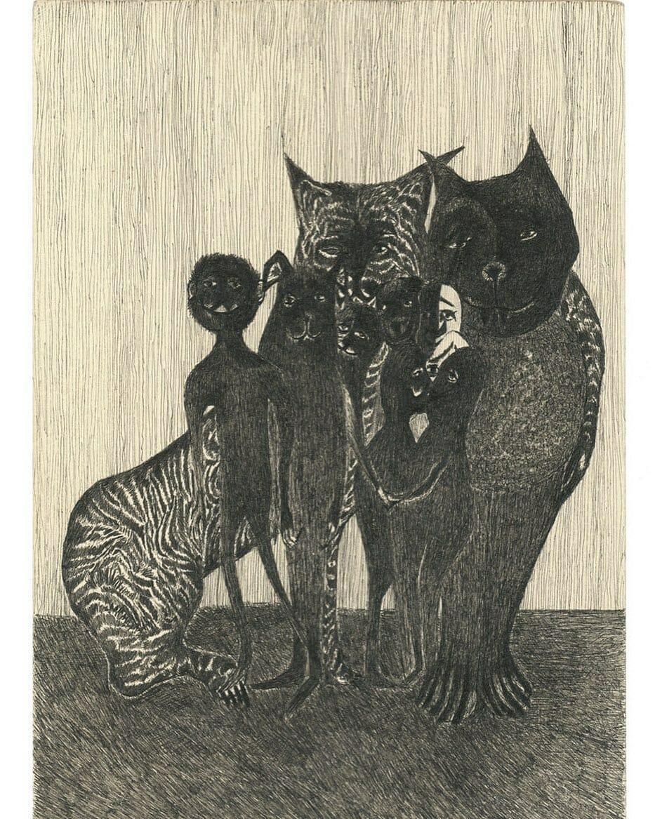 tigre noir et blanc animaux homme noirs famille portraits