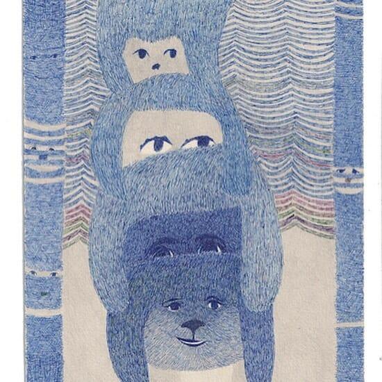 dessin bleu oreilles yeux sourire broderie stylo bleu