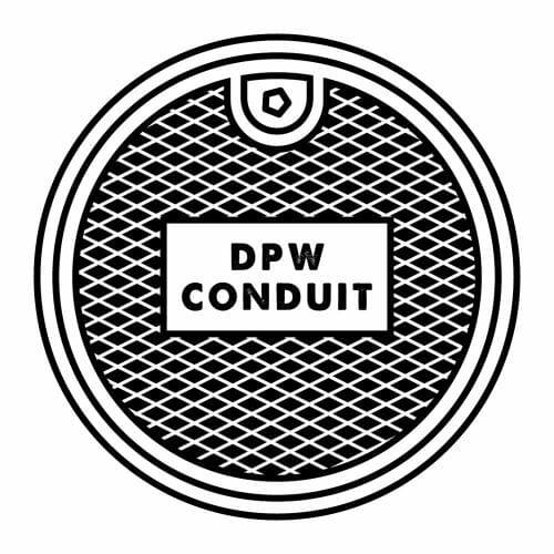plaque égout conduit dpw fer noir blanc minimaliste