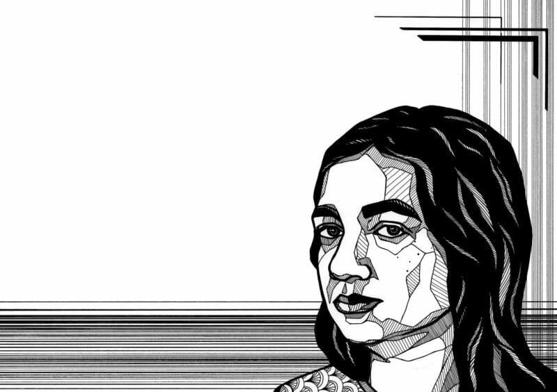Nasreen Mohamedi portrait géométrie cheveux noirs