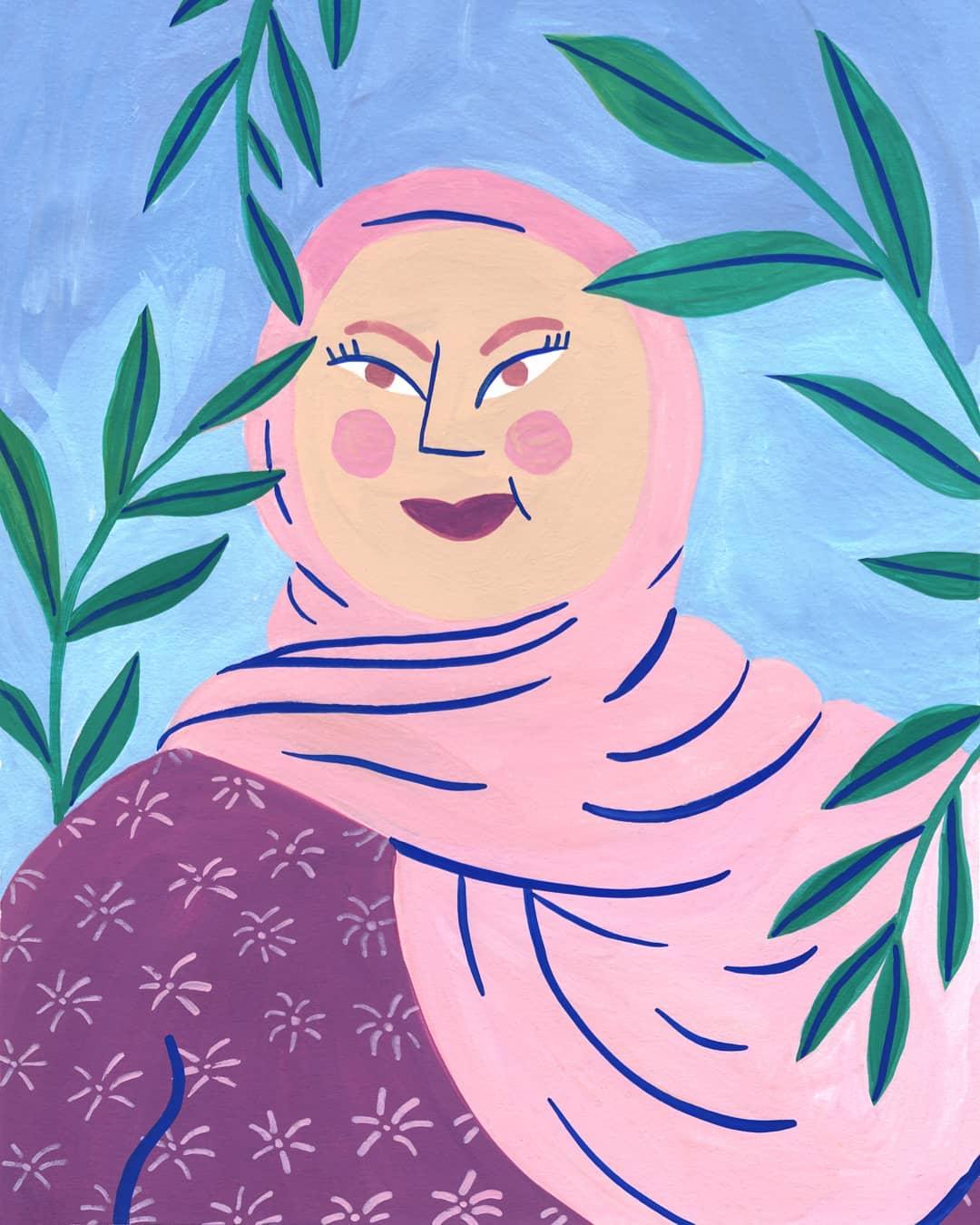 Illustration par Marie Boiseau femme au Hijab