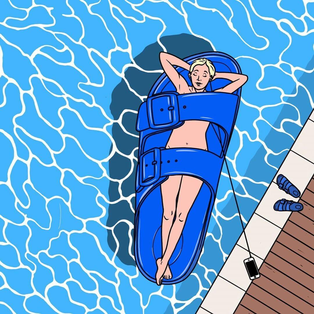 Arizona Blue, dessin de l'artiste Jean-Michel Tixier