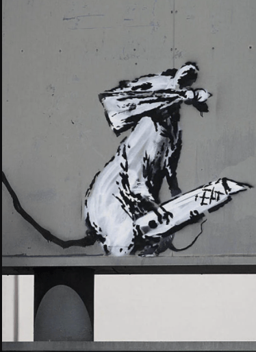 Banksy Masked rat with a knife