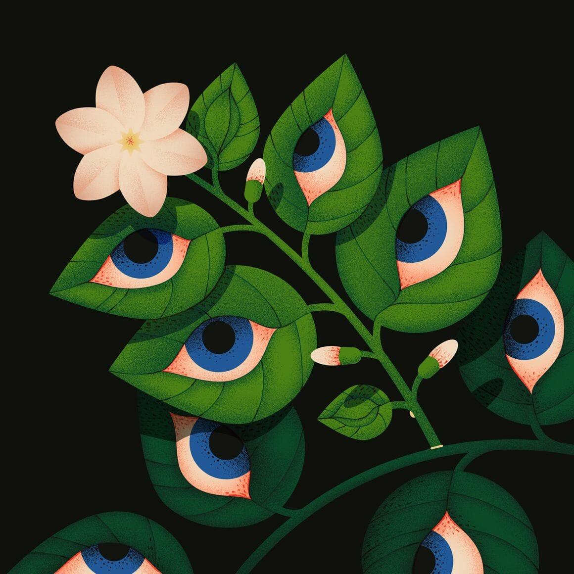 Jasmine, dessin issu de la série Blooming Eyes d'Ana Miminoshvili