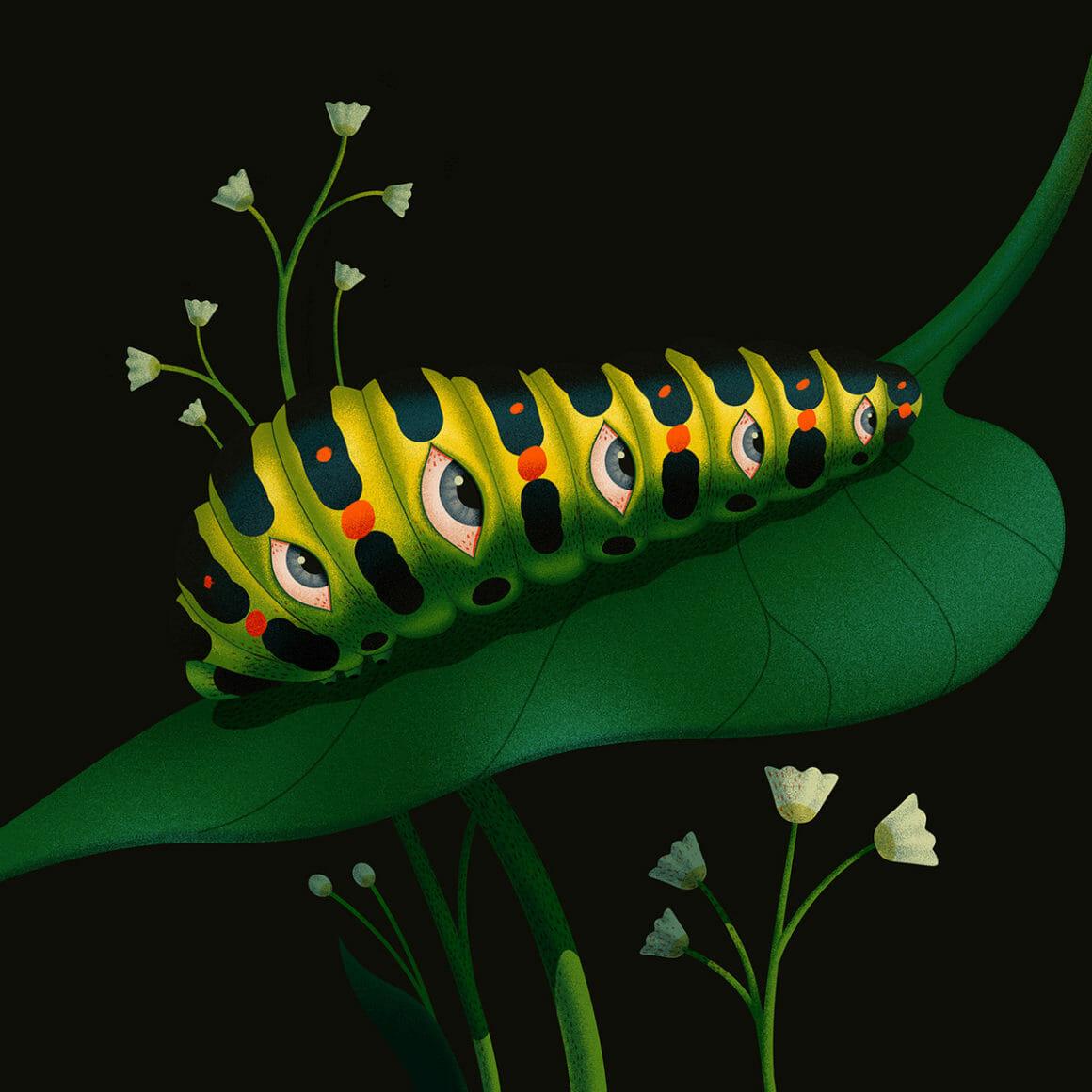 Caterpillar par Ana Miminoshvili pour sa série Blooming Eyes
