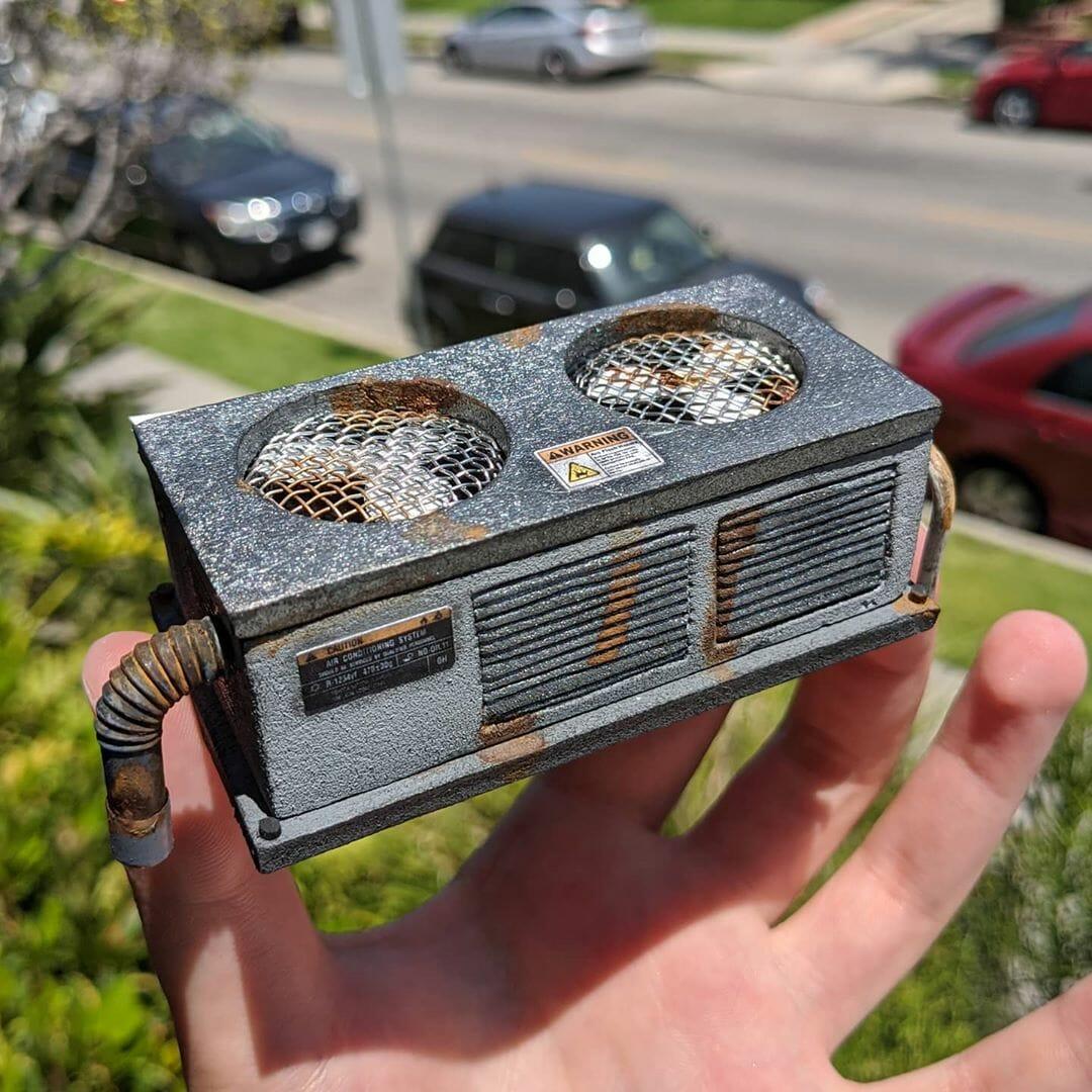 Climatisation industrielle créé par Kieran Wright pour le toit du projet miniature du Restaurant Rae à Santa Monica