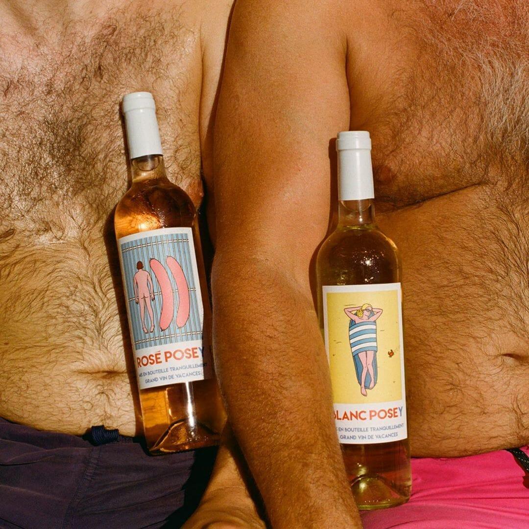 Etiquette de bouteille de vins crées par Jean-Michel Tixier pour la boutique Posey