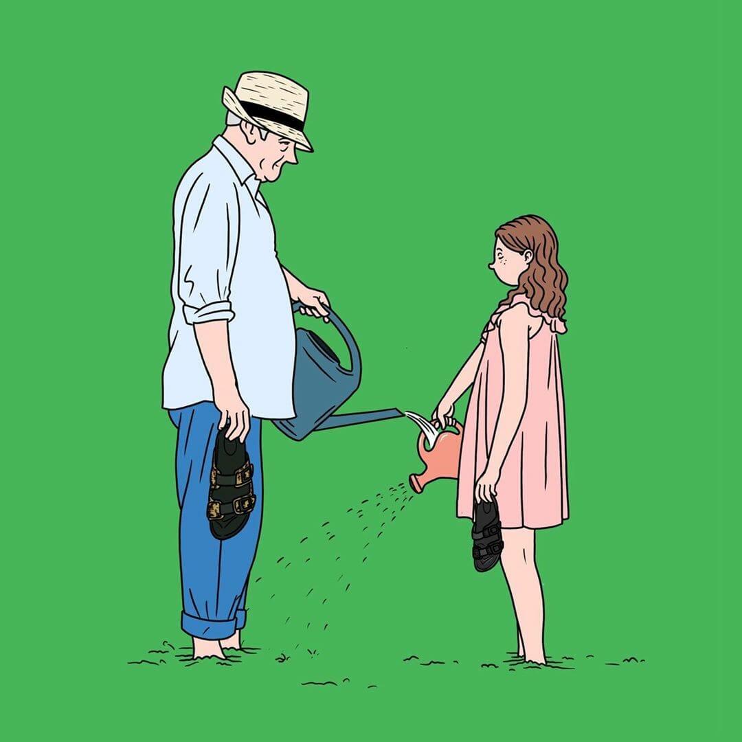 Des plantes vertes dans l'univers de l'illustrateur Jean-Michel Tixier
