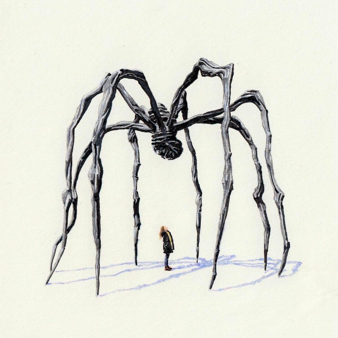"""""""Maman - Louise Bourgeois"""" est une illustration d'Alexandre Luu, réalisé aux crayons de couleurs"""