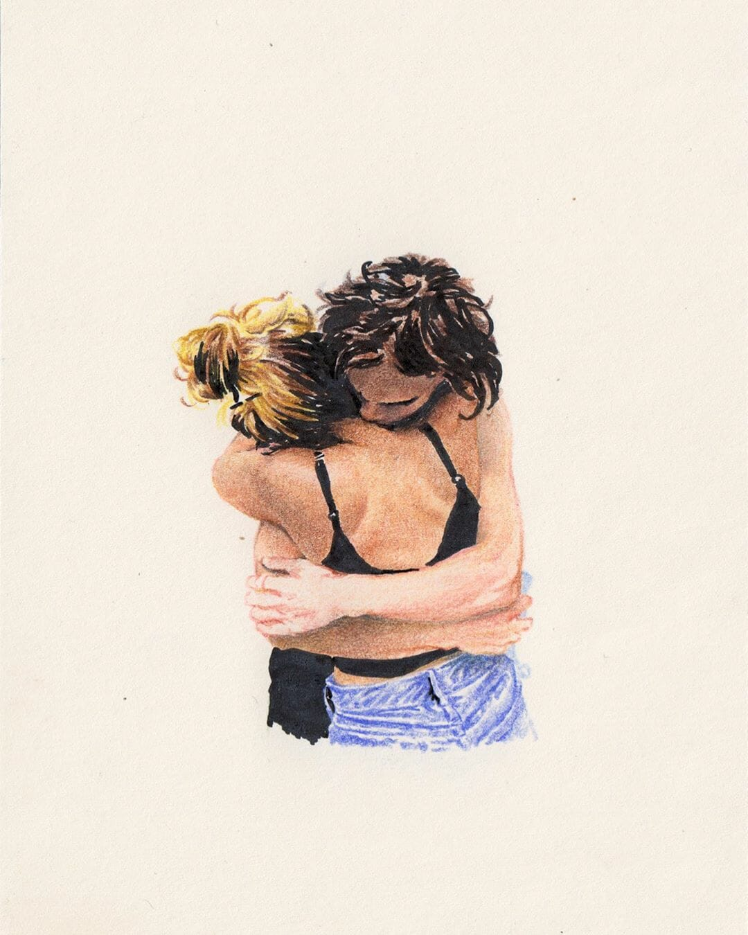 """""""Marion et Pablo"""", dessin aux crayons de couleurs réalisé par Alexandre Luu"""