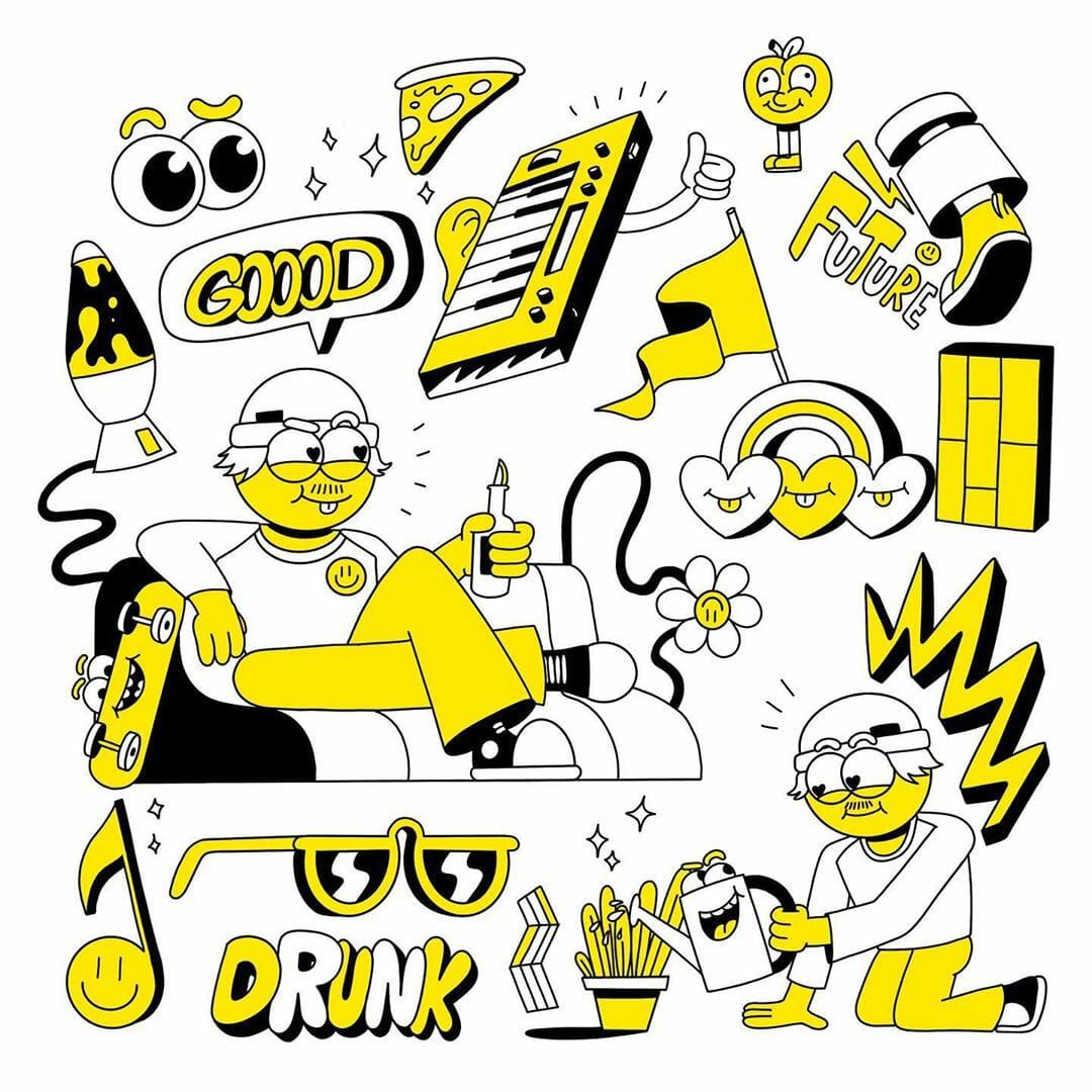 Nart yellow illustration par Alexandre Nart