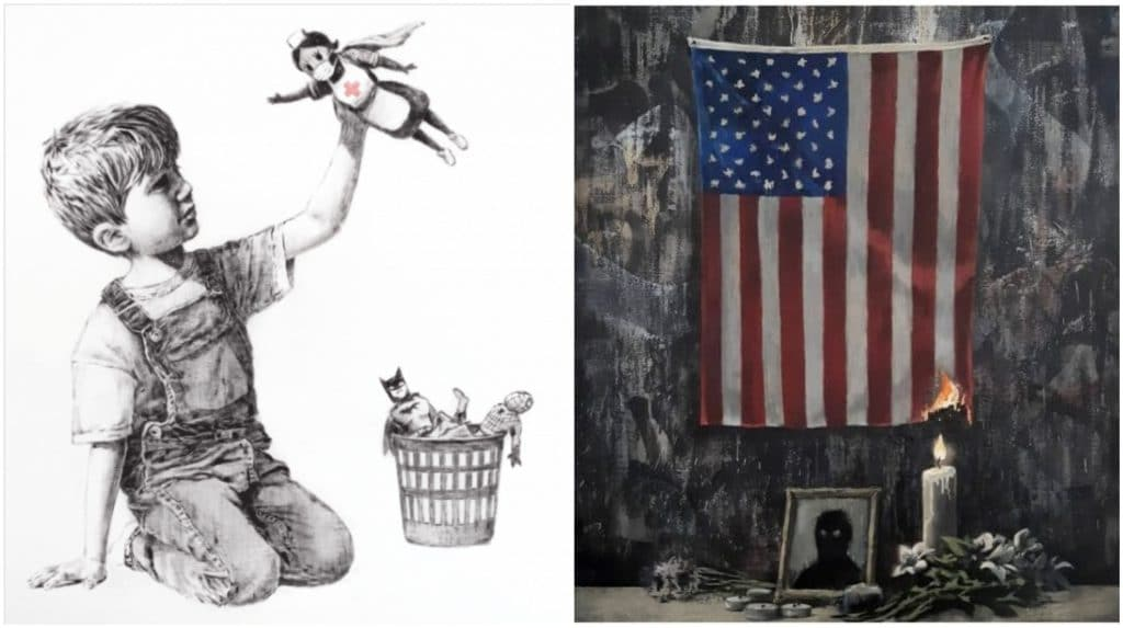 Banksy hommage Floyd + hommage personnel médical