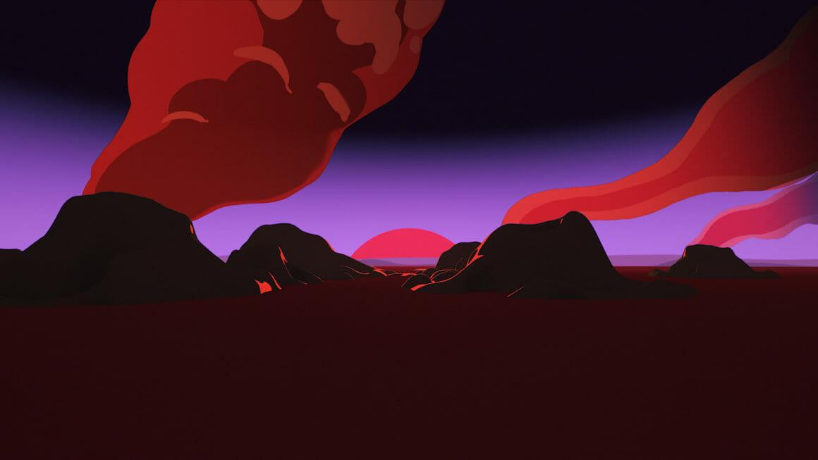 Rone Esperanza lever de soleil sur des volcans