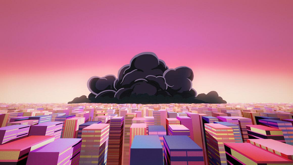 Rone Esperanza gros nuage orageux sur la ville futuriste