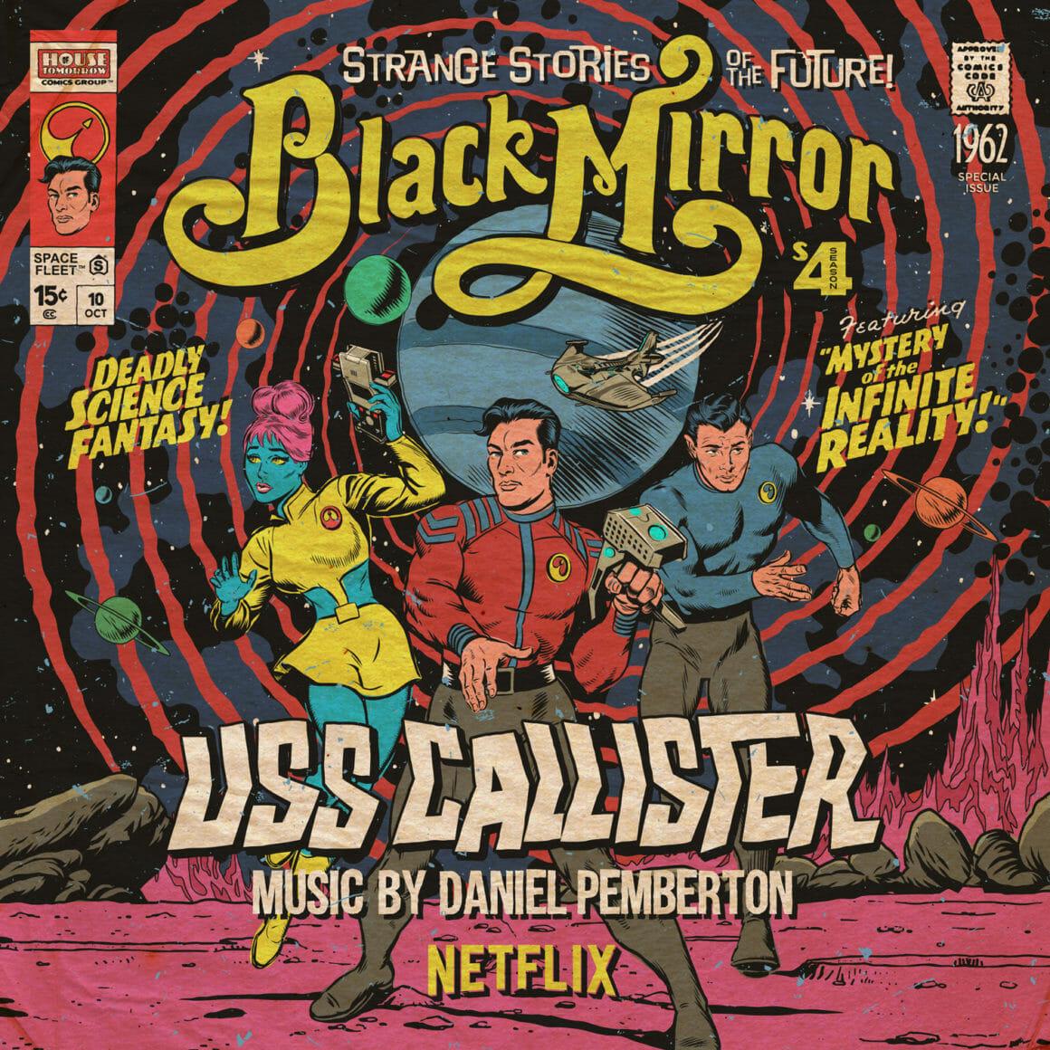 Pochette pour le vinyle de la série Black Mirror, une femme bleu et deux hommes sortent d'un tourbillon bleu et rose