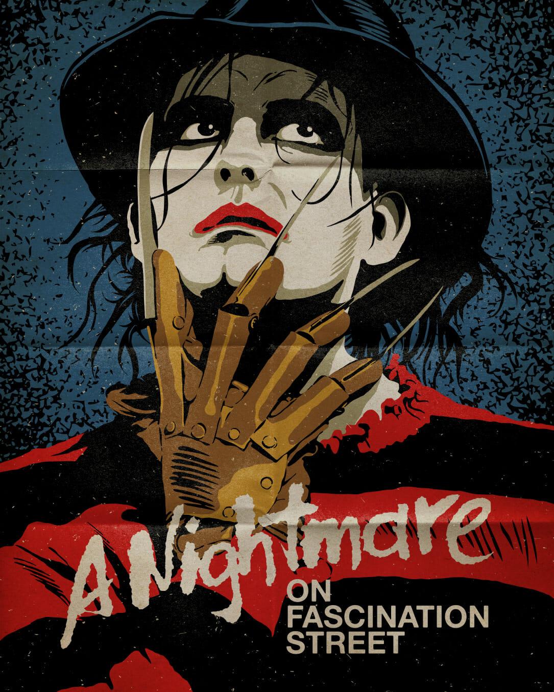 Illustration sur fond bleu d'un homme qui  le visage peint en blanc, les lèvres rouges et les yeux cernés de noir. Sa main est devant son menton. Il porte comme un gant de métal avec des lames au bout de chaque doigt.