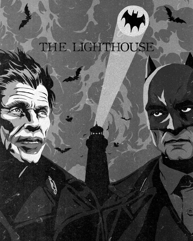 Illustration en noir et blanc, au premier plan Batman et le Joker. Derrière, un phare projet la chauve-souris, logo de Batman, dans le ciel