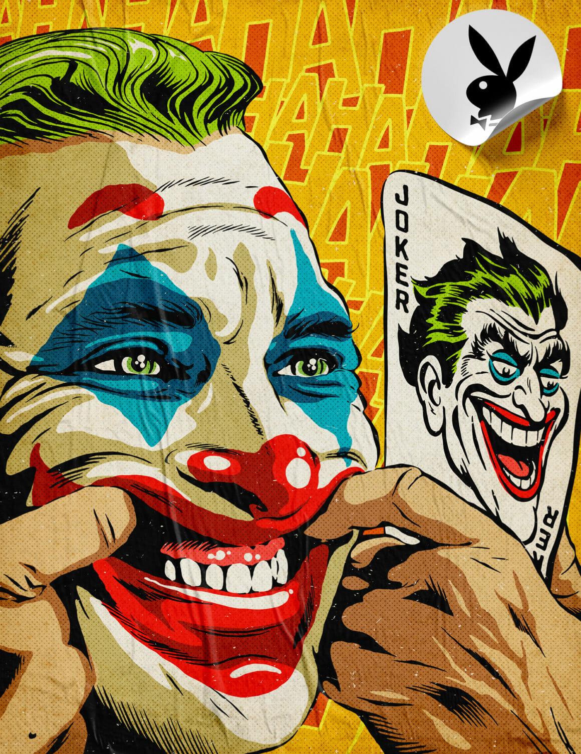 Illustration colorée d'un clown maquillé qui fait la grimace pour exagérer son sourire et imiter le Joker.