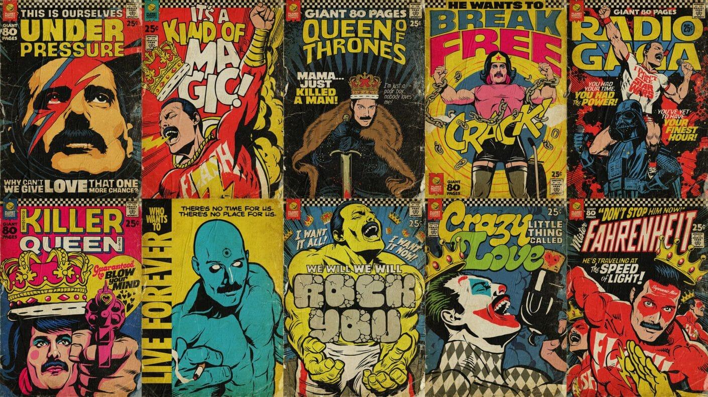 Assemblage d'illustrations style affiche pop art qui reprennent Freddie Mercury sous différentes formes