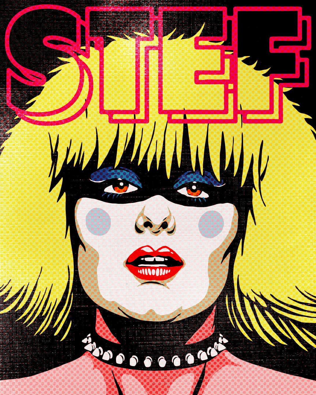 Illustration en couleur : portrait d'une femme aux cheveux blonds, courts et gonflés. La femme a le visage peint en blanc, les yeux maquillés de bleu et les lèvres rouges. Elle porte un collier à clous.