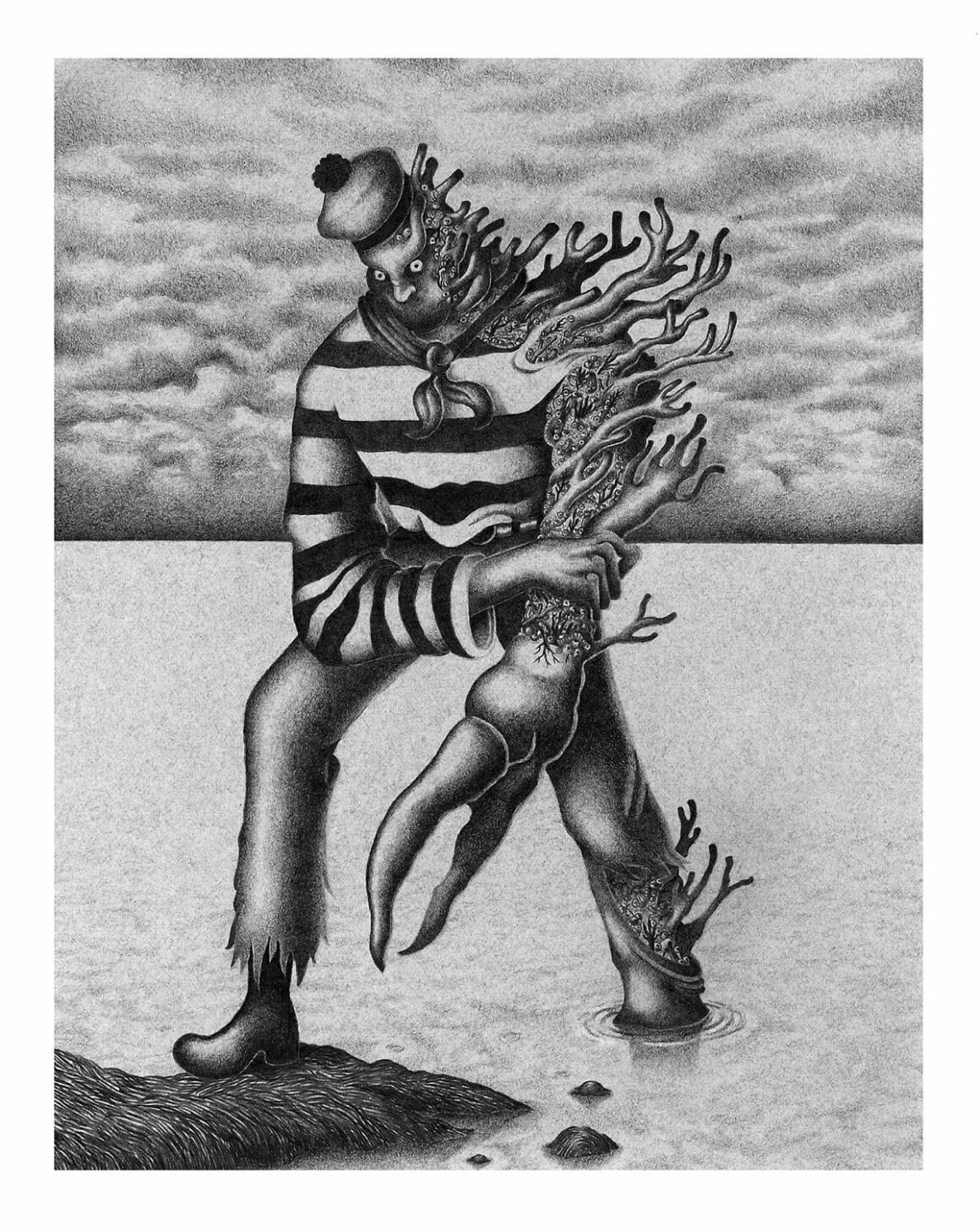 """Illustration au crayon graphite tirée de la série """"Coral"""" de Nicolas Degaudenzi"""