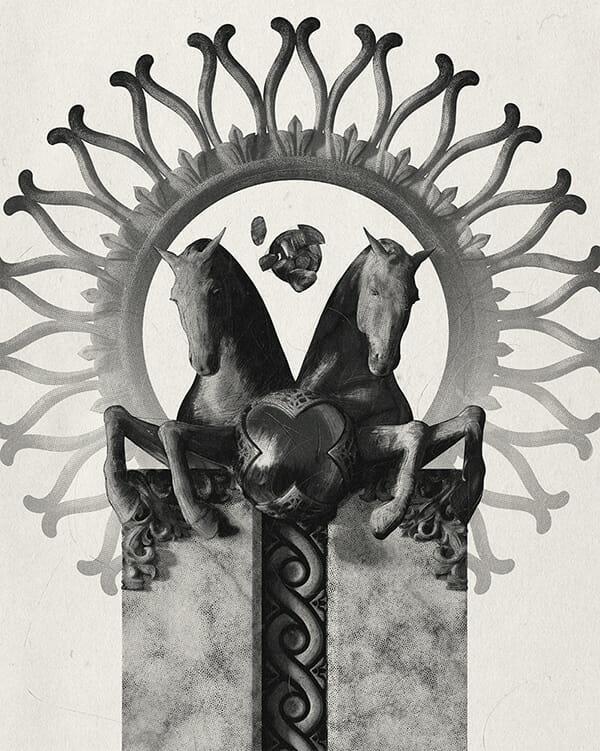 Illustration en noir et blanc d'une colonne architecturale, décorée à son sommet de deux chevaux et d'une couronne décorative