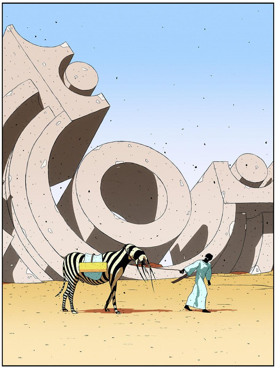 Illustration en couleur, un homme tire par les rênes son étrange destrier rayé. Ils semblent être dans un désert et derrière eux se dresse une sculpture décorative tombée au sol