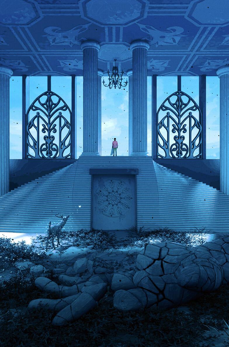 Un homme se tient en haut d'escalier, lesquels donnent sur une sculpture de main géant brisée et recouverte de végétation. Un cerf se tient à côté. Le tout est baigné d'une lumière bleue.