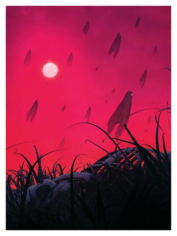 Illustration de fantômes noirs qui s'envolent dans un ciel rose/rouge, au premier plan un squelette dans l'herbe au sol