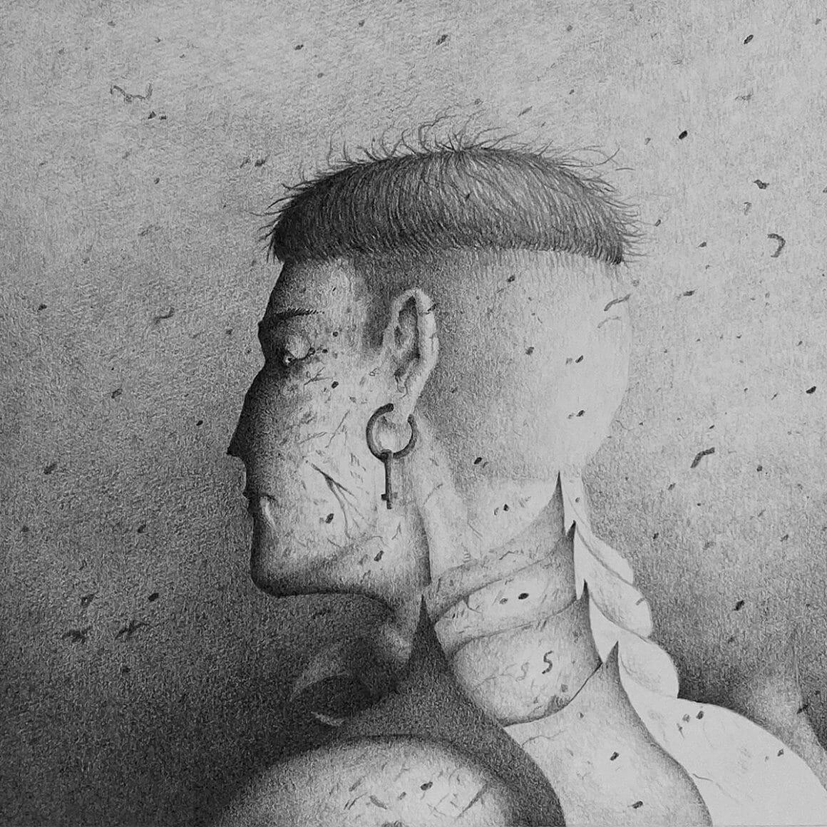 """Illustration au graphite tirée de la série """"Chagrin"""""""