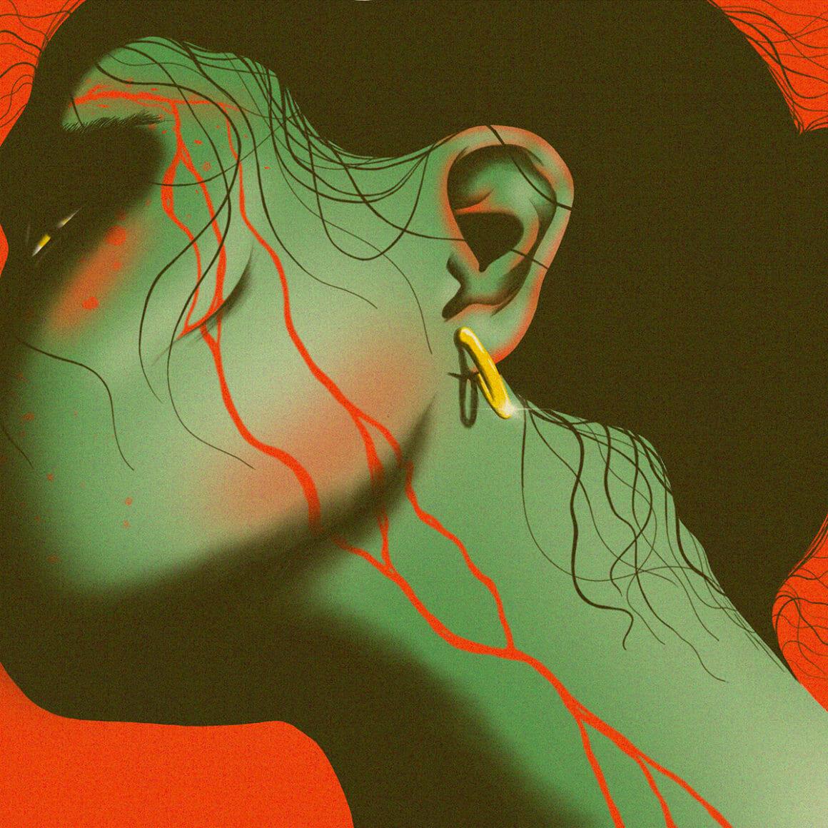 Illustration en couleur réalisée sur Procreate, femme blessée