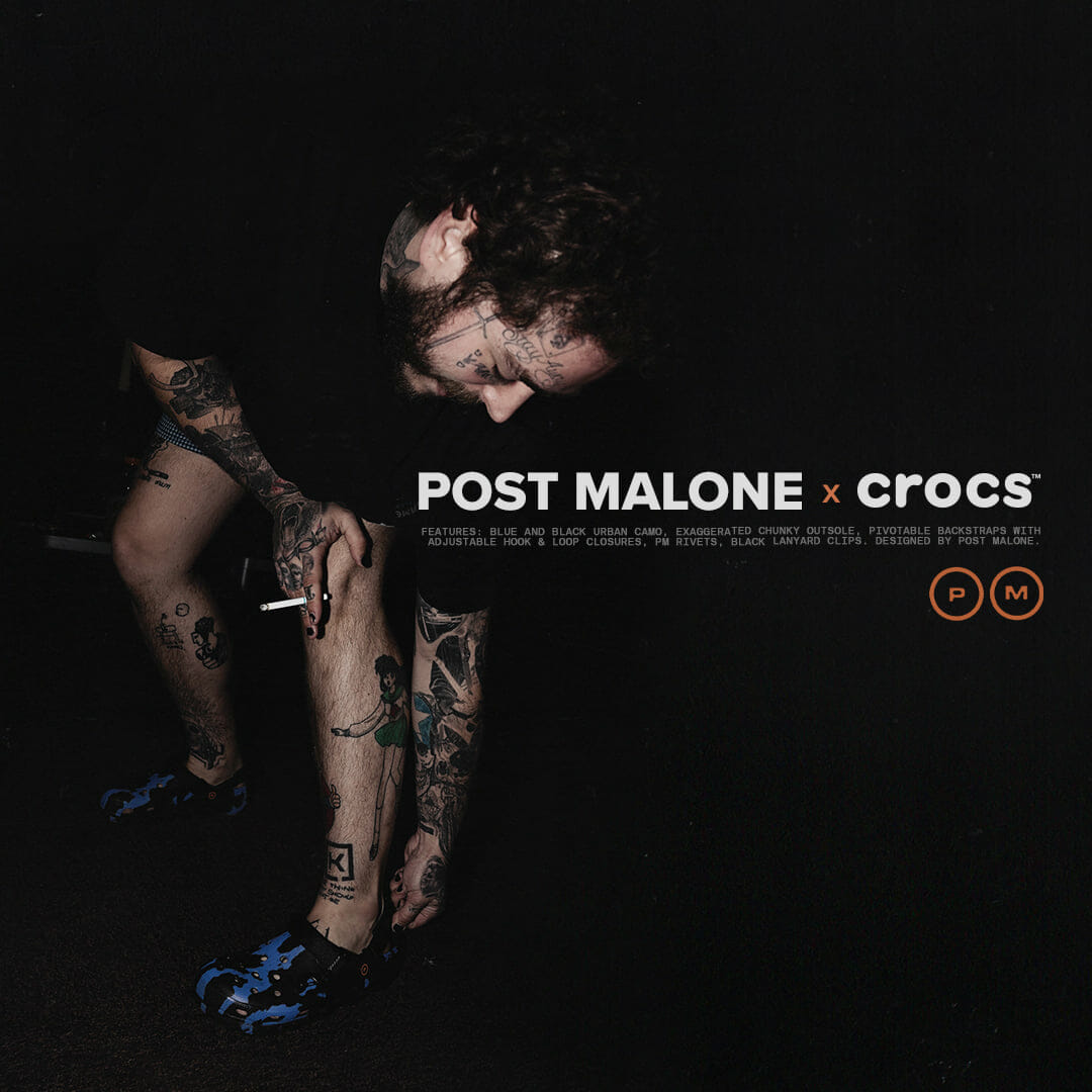 Publicité où figure Post Malone pour sa nouvelle paire de Crocs