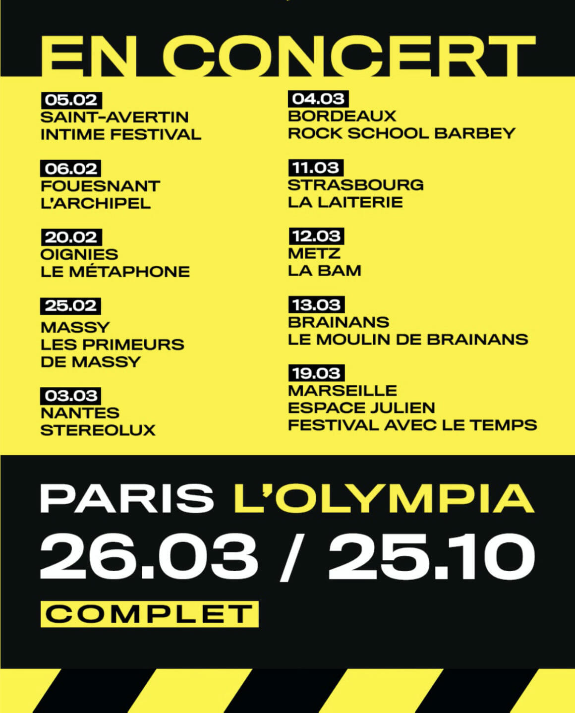 Dates de concert d'Hervé