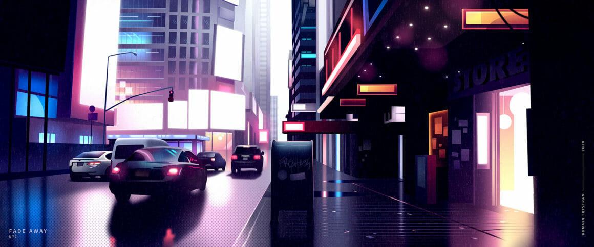 Des voitures avec des rues vides