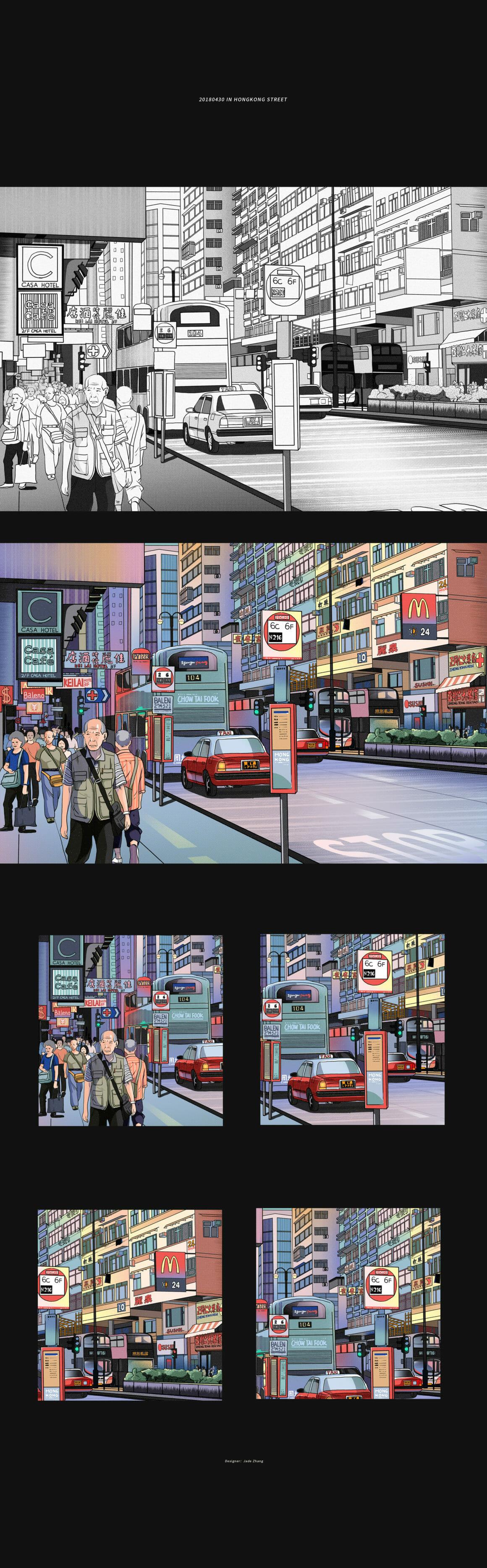 Construction d'une illustration de la rue de Hongkong