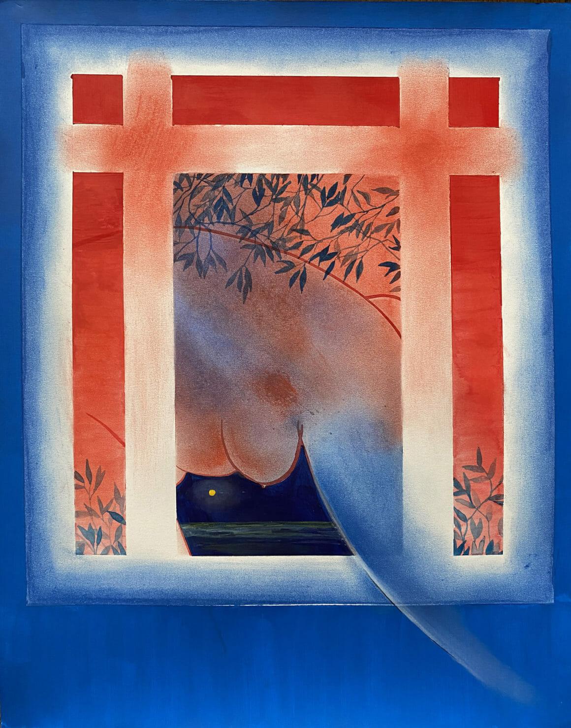 Corps rouge par la fenêtre entouré de bleu