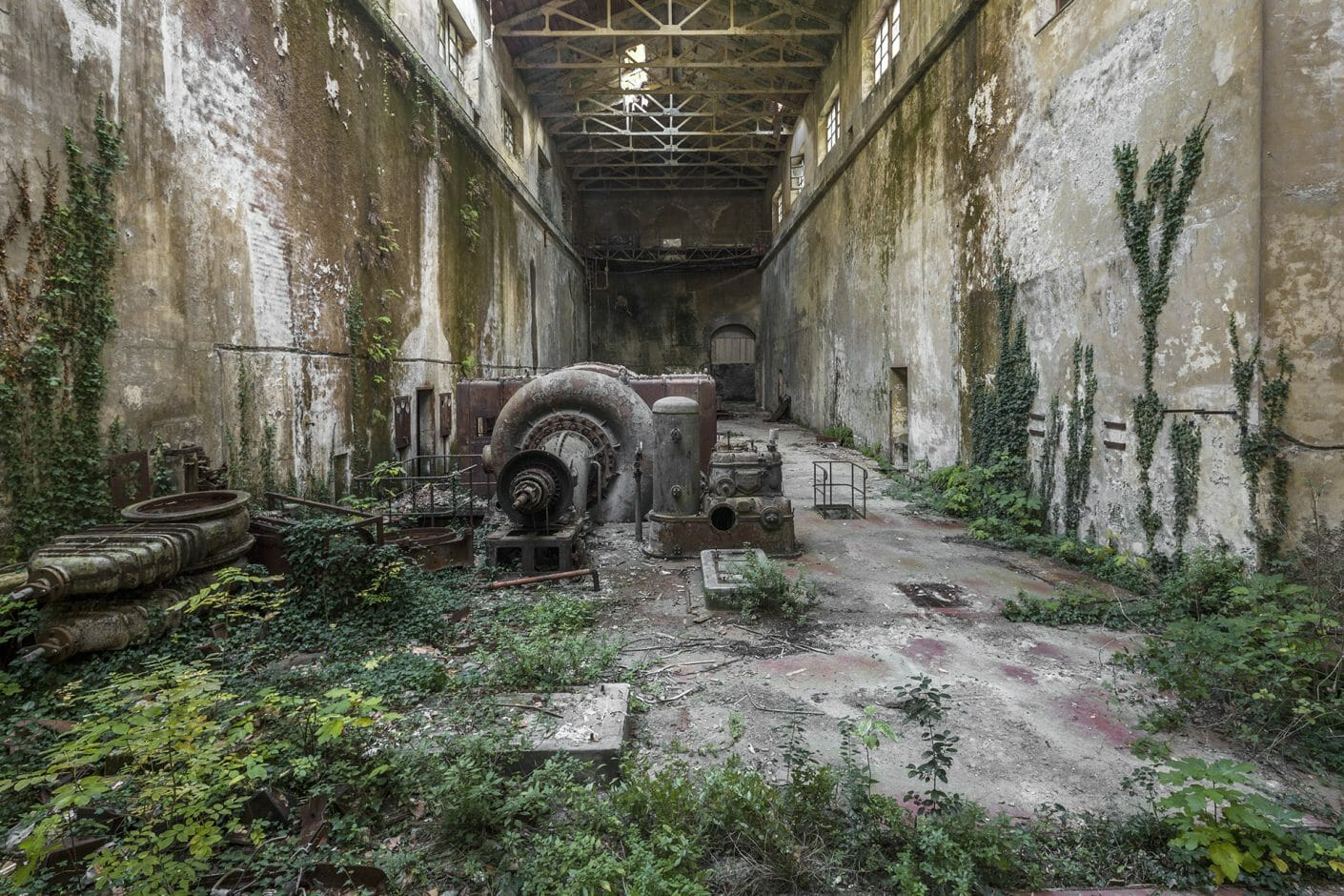 Photographie d'une salle d'une ancienne centrale électrique dont le sol est recouvert de plantes. Du lierre grimpe aux murs.