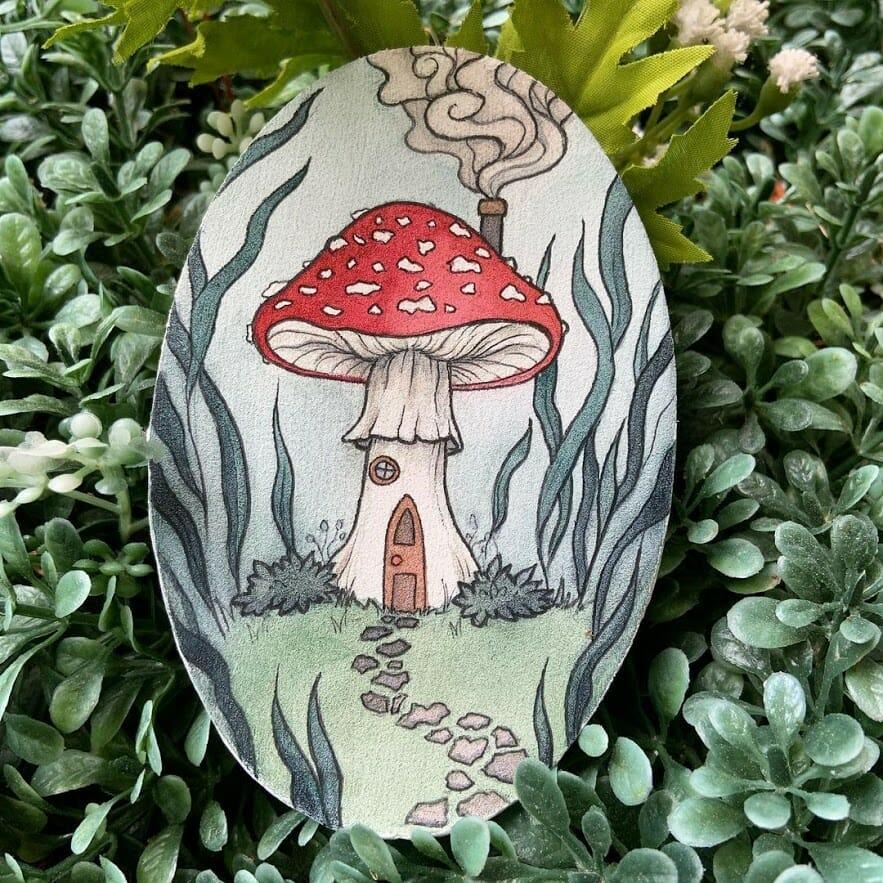 Dessin d'un champignon rouge et blanc vénéneux