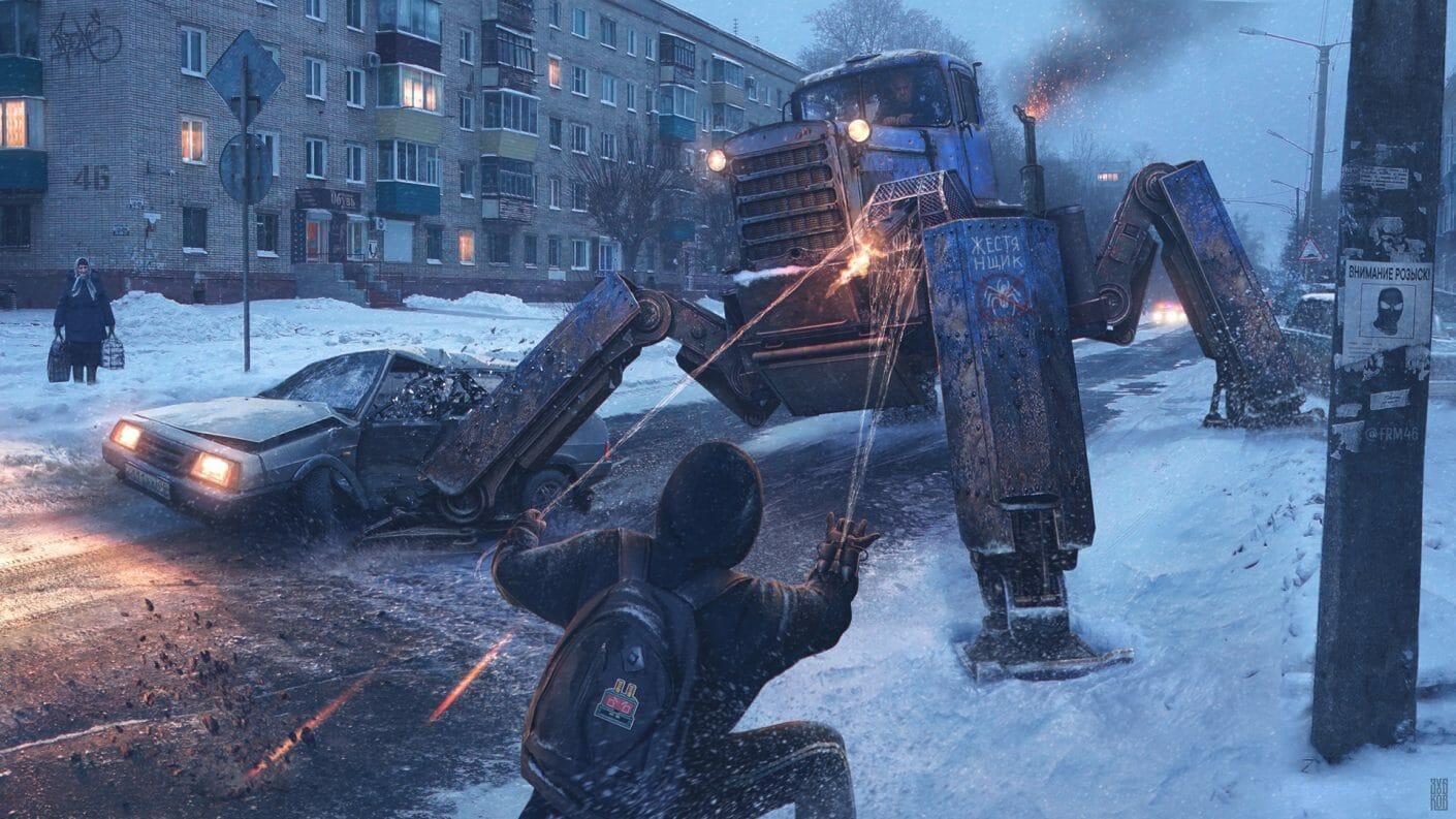 Spiderman lutte contre un tracteur amélioré grâce à ses fils