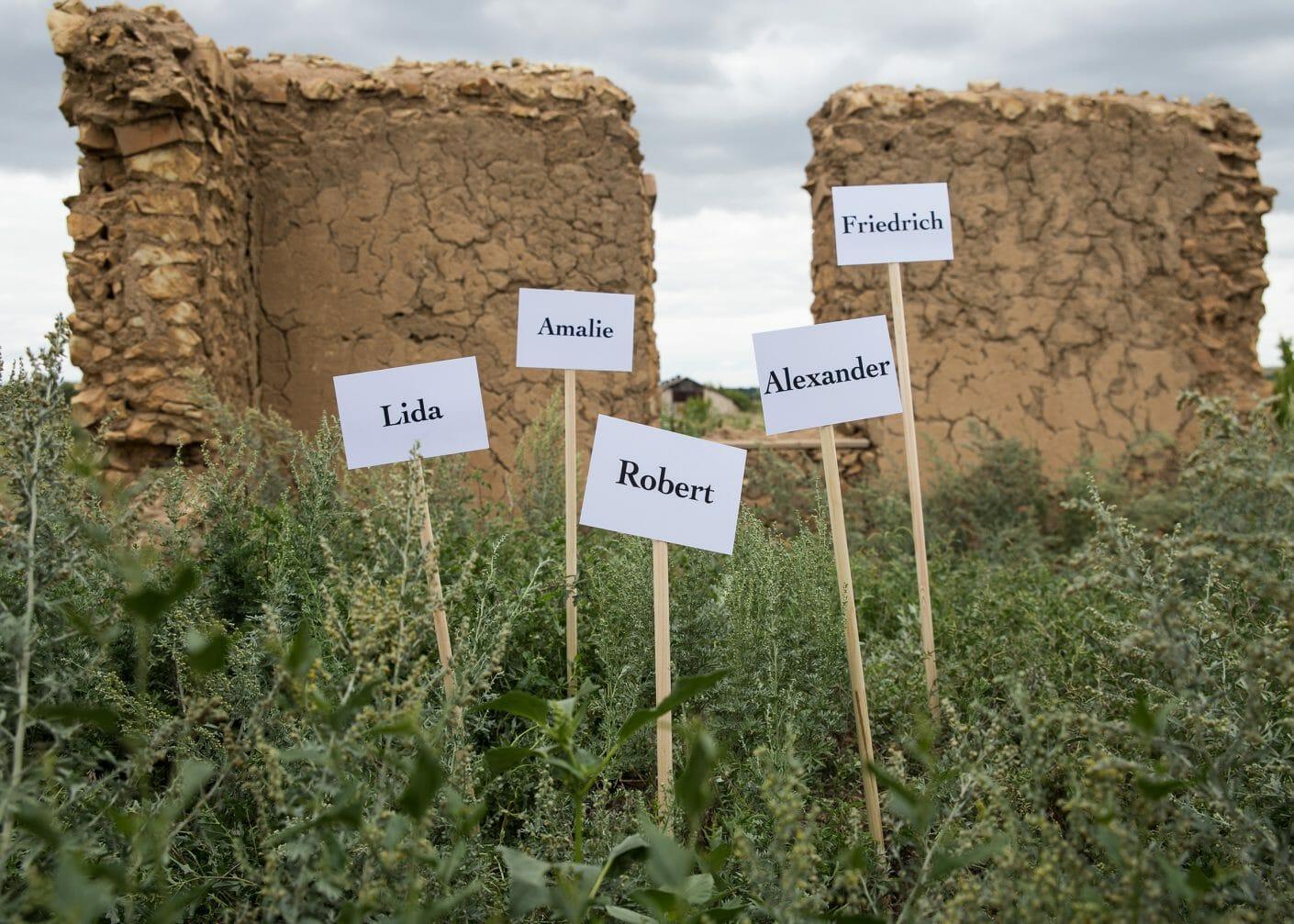 Au milieux de végétaux, 5 petits panneaux avec les prénoms : Lida, Amalie, Robert, Alexander, Friedrich