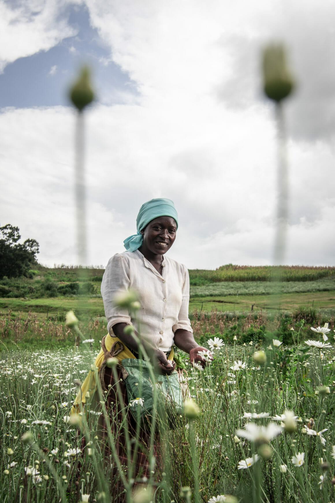 Femme dans un champ de fleurs, elle sourit, deux fleurs dans les mains
