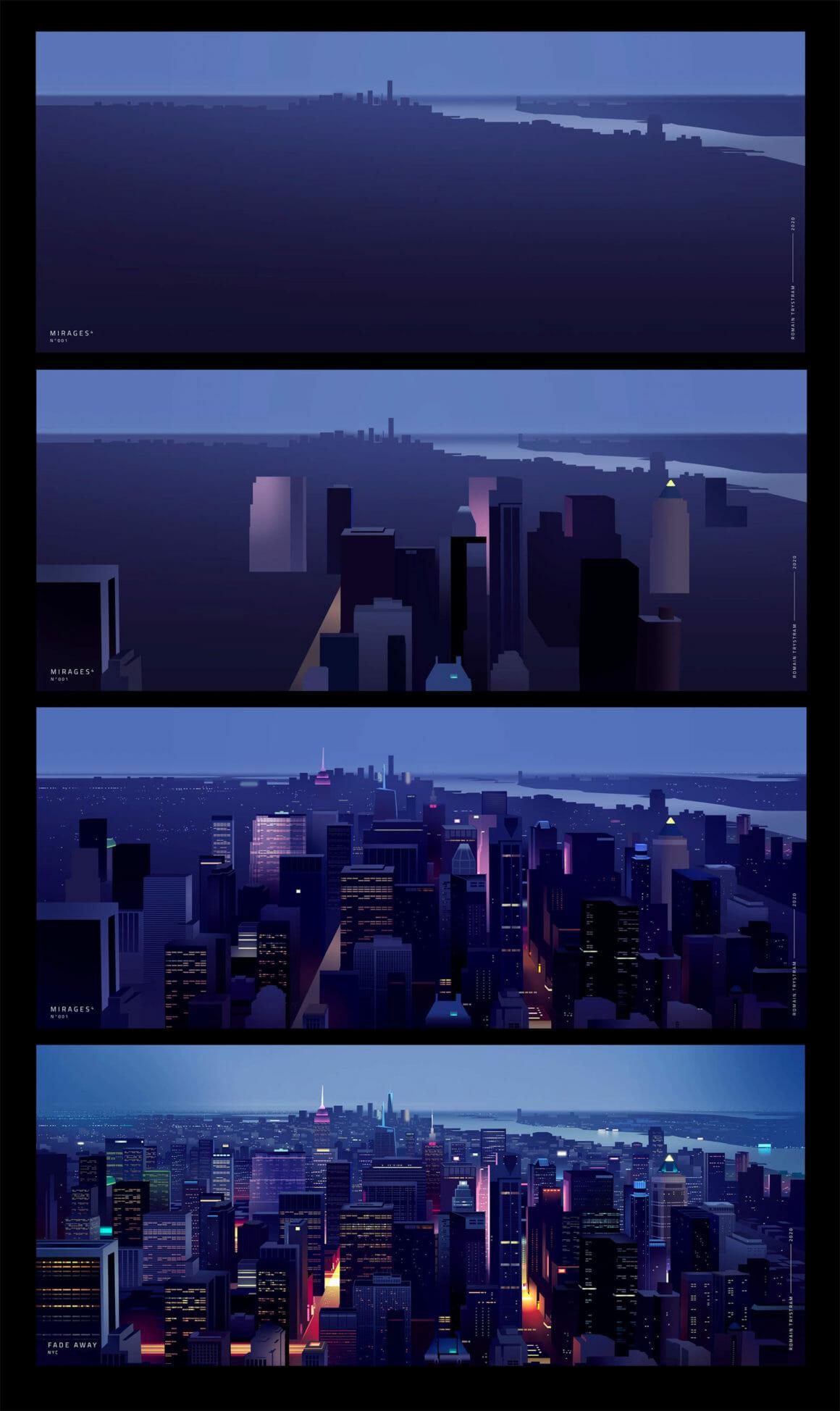 Étapes pour dessiner la grande ville de New York pour la série Fade Away